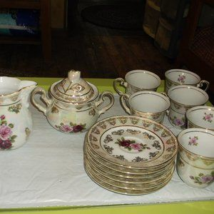 vintage set  cups &saucers&creamer &sugar set
